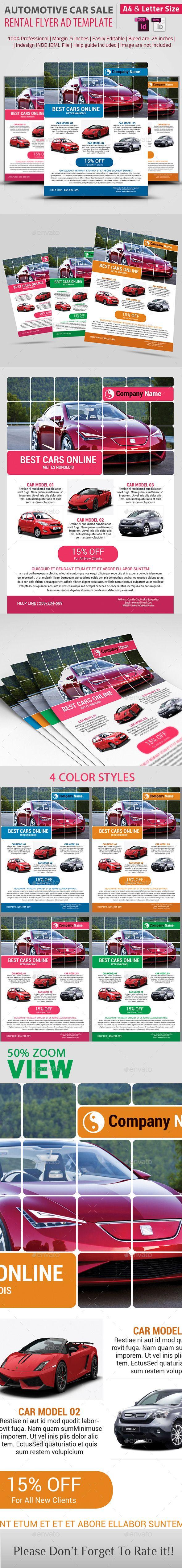 Automotive Car Sale Rental Flyer Ad Template  Indesign Indd