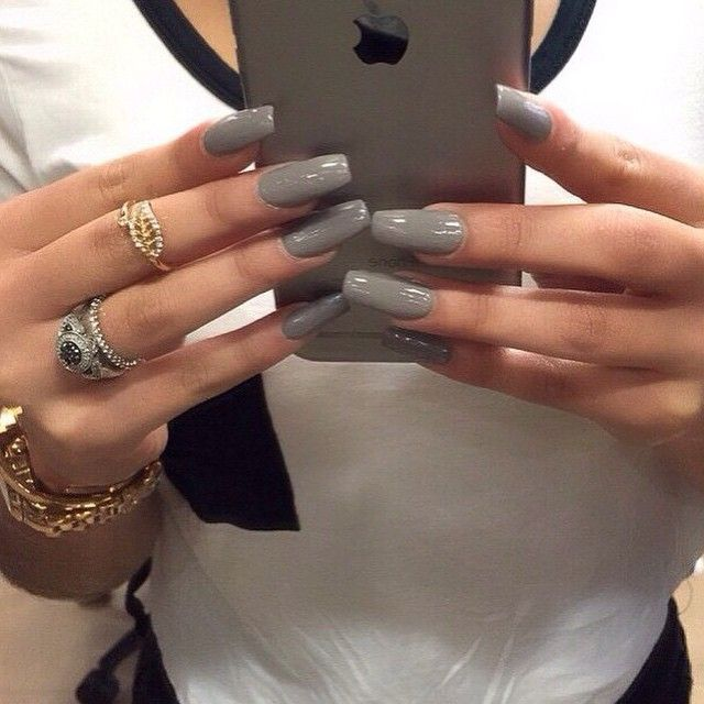 Christmas Acrylic Nails Grey: Nice Long Grey Acrylic Nails
