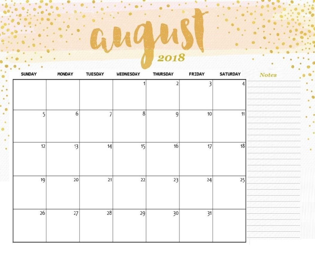 image about August Free Printable Calendar titled August 2018 Calendar Printable Adorable August 2018 Calendar