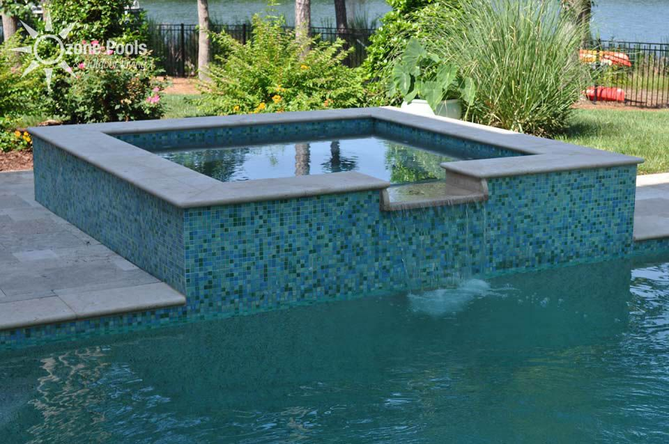 rectangle pools with spas rectangular pool spa with glass tile - Rectangle Pool With Spa