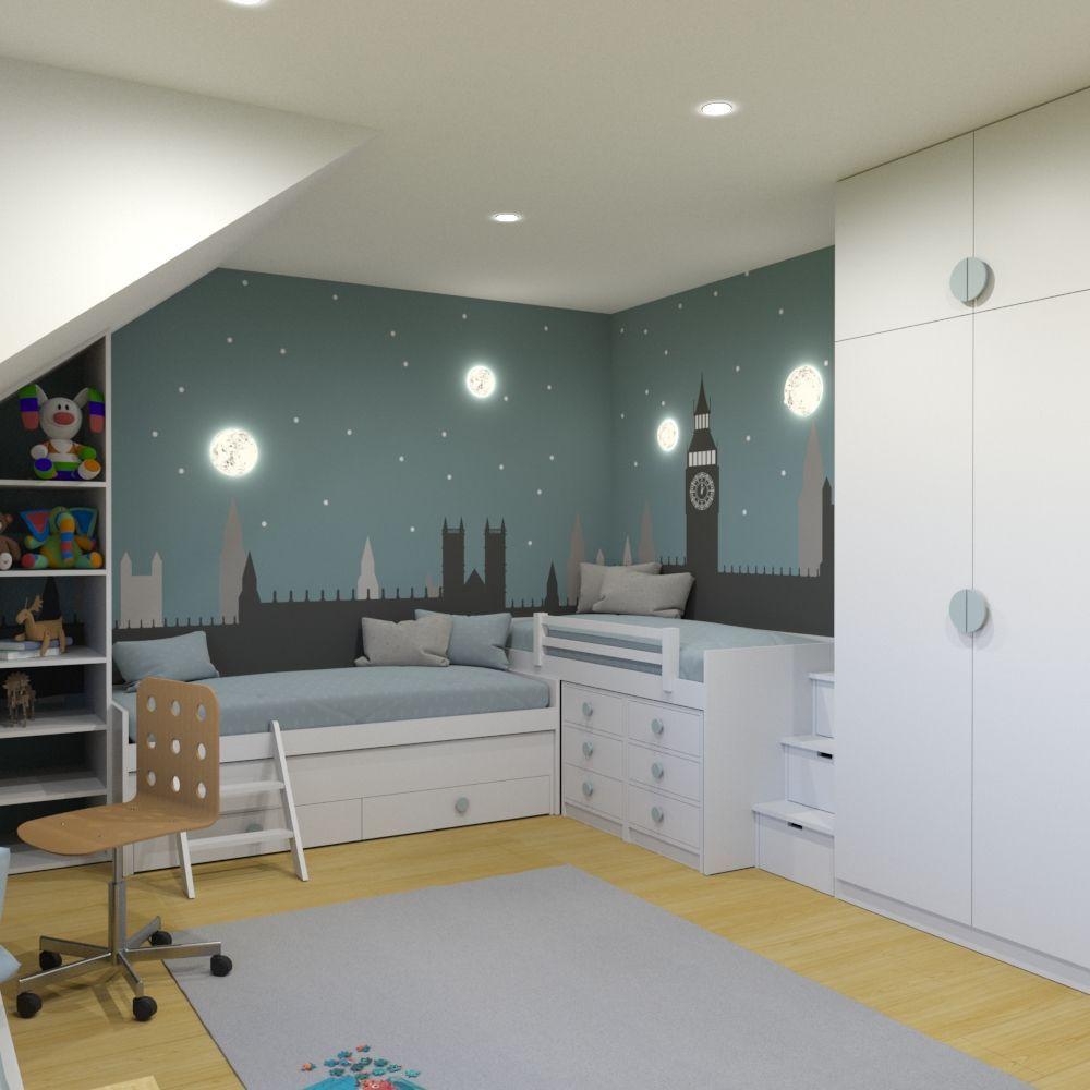 Shared Boys Geometrical Bedroom: Kids Room By DE.SIGN, Kyiv, Ukraine