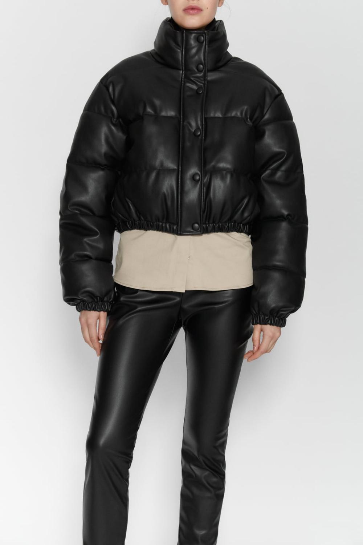 Faux Leather Puffer Jacket Zara United States [ 1500 x 1000 Pixel ]