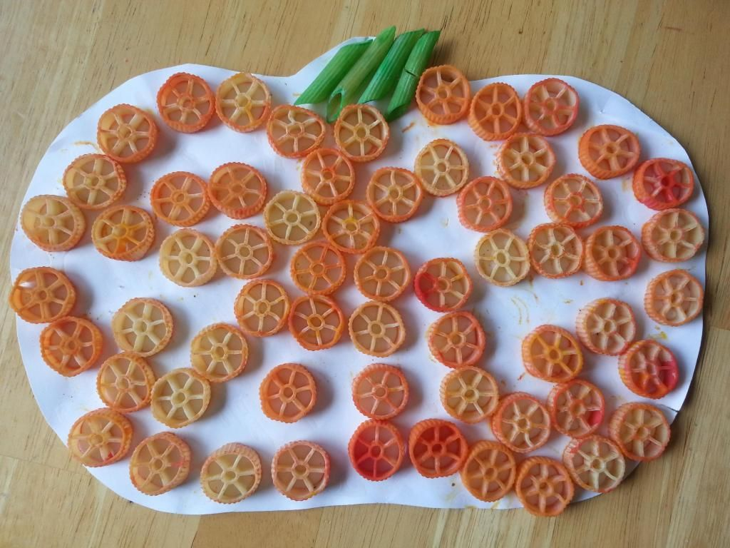 Pasta Pumpkin Craft Fall Kid