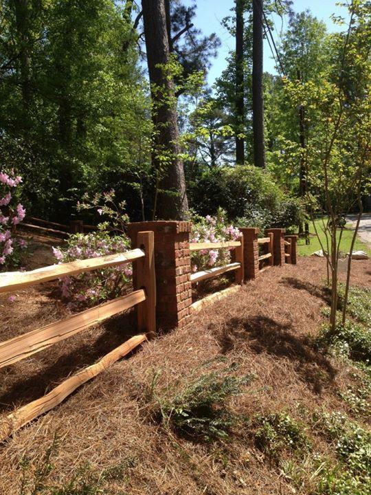 Fence With Brick Columns Cedar Fencing With Brick