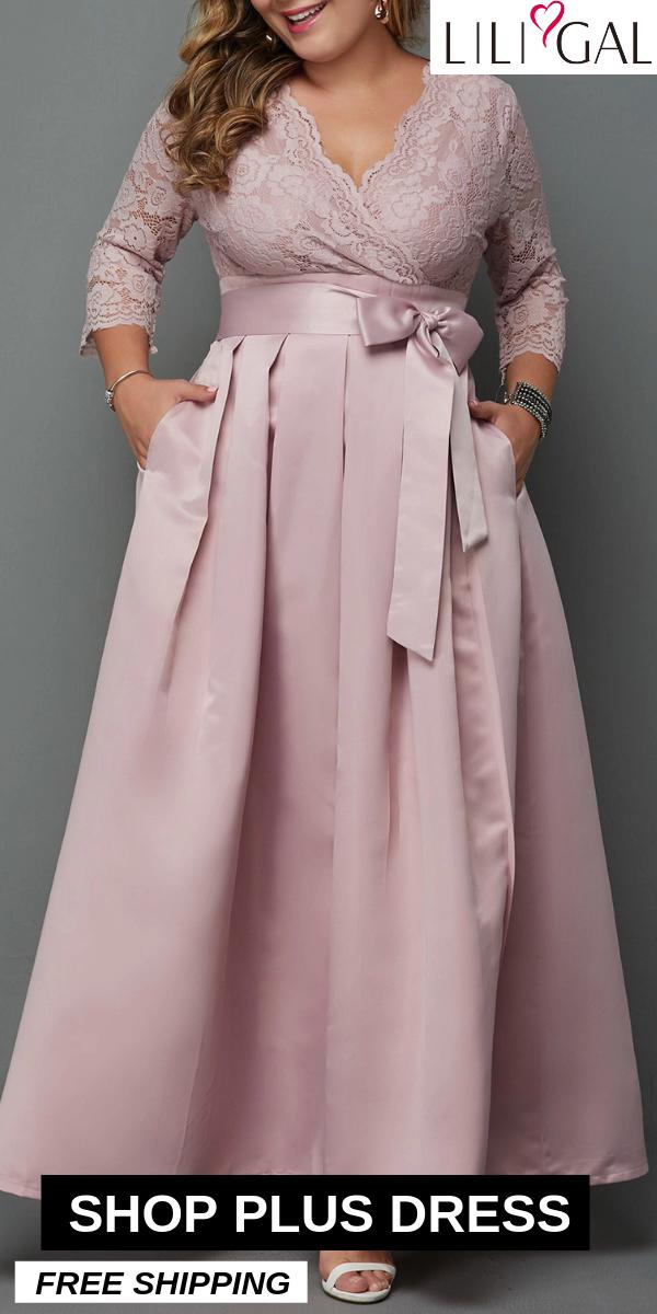Photo of USD37.27  V Neck Plus Size Lace Patchwork Maxi Dress