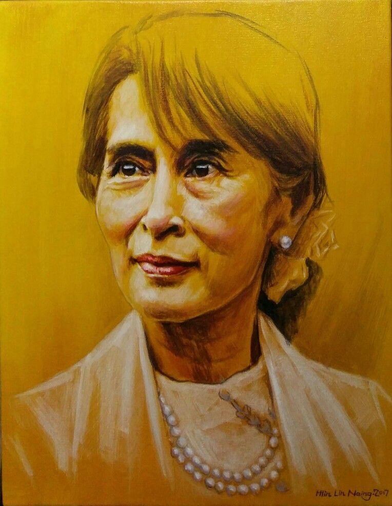 aung san suu kyi portrait by artist htin lin naing myanmar  aung san suu kyi portrait by artist htin lin naing