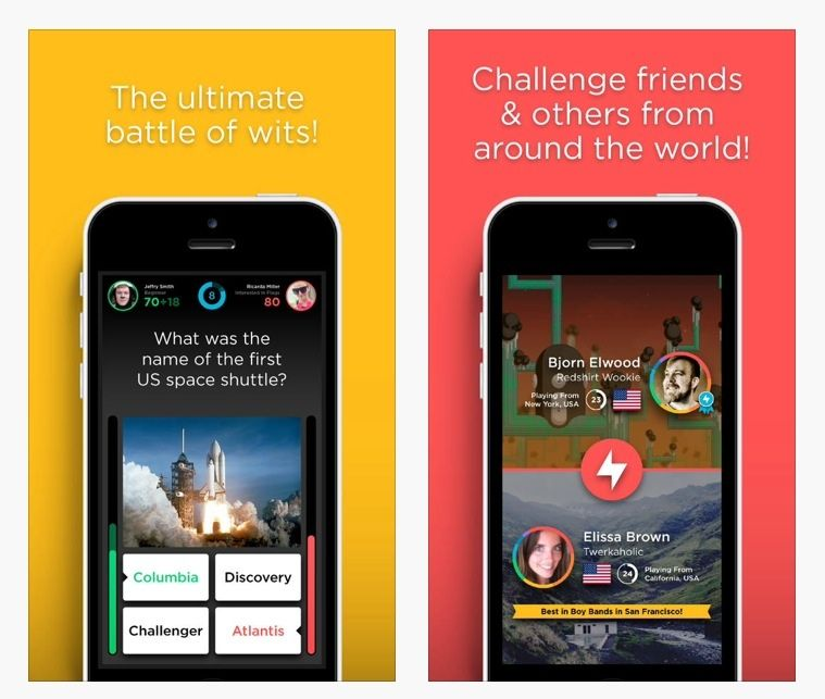 QuizUp app  A great new game to play during the boring waiting times.  Choose your area of expertise and immediately go up against another player and the timer.  Fast, fun and very addictive.