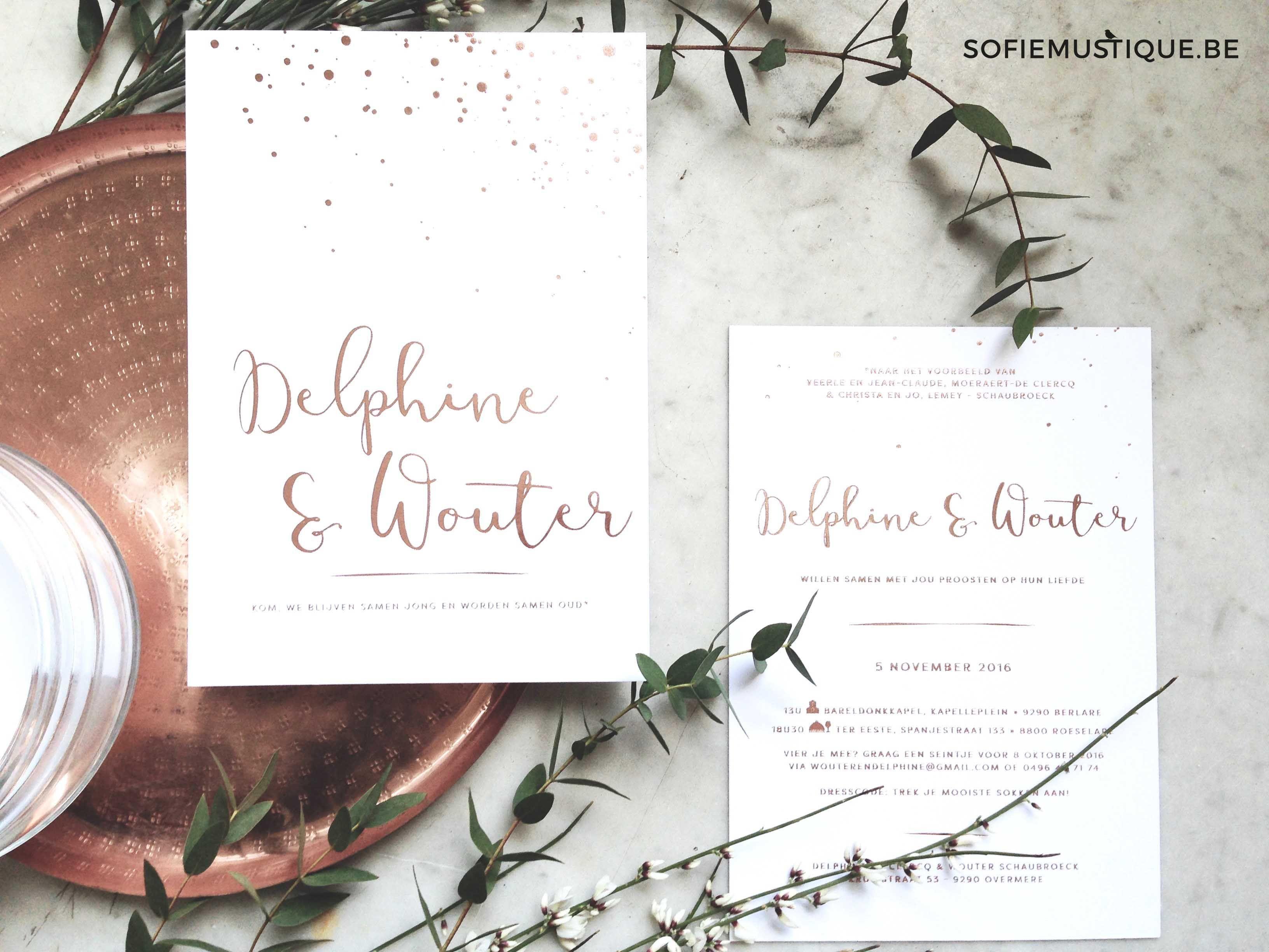 Huwelijksuitnodiging Delphine Wouter Huwelijk