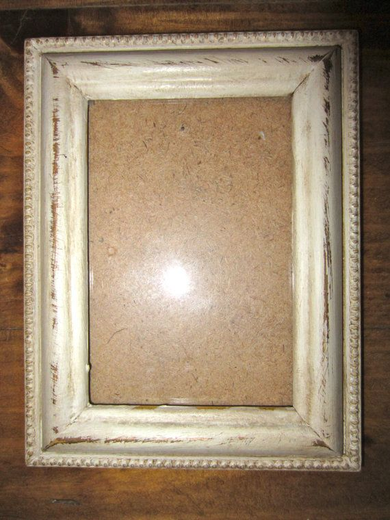 Old White Distressed Picture Frame With A Touch Of Gold My Etsy