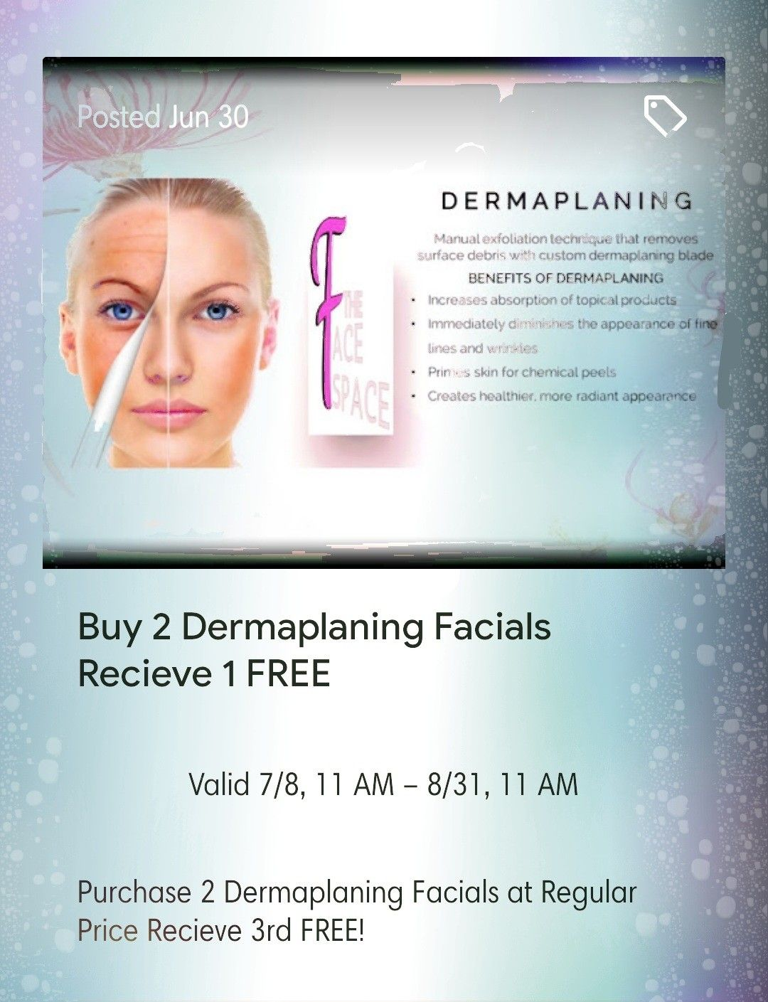 Purchase 2 Dermaplaning Facials Recieve 3rd One Free