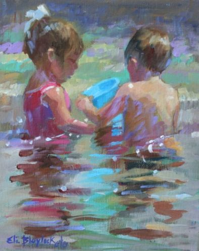 American Impressionist Show 2012 Children Playing In Quiet Waters