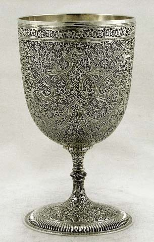 b2fa8dbe38b3 Ornate solid silver wine goblet from Kashmir