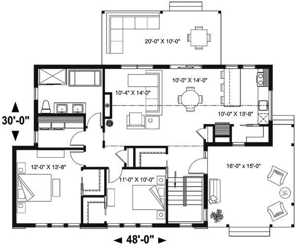 Modern Style House Plan - 2 Beds 1.00 Baths 1200 Sq/Ft ...