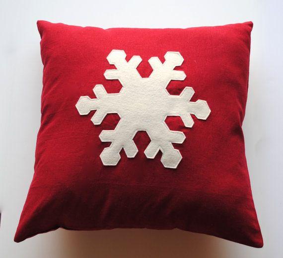 Un copo de nieve Navidad fundas almohada por ThatDutchGirlPillows