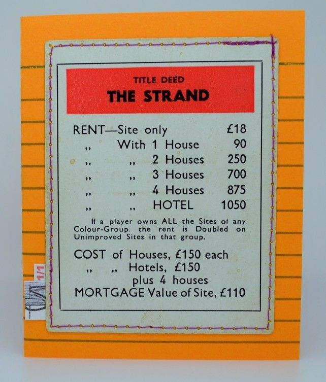 Eco Friendly 1950 60s The Strand Monopoly Card One Of A Kind Monopoly Cards Fleet Street Cards