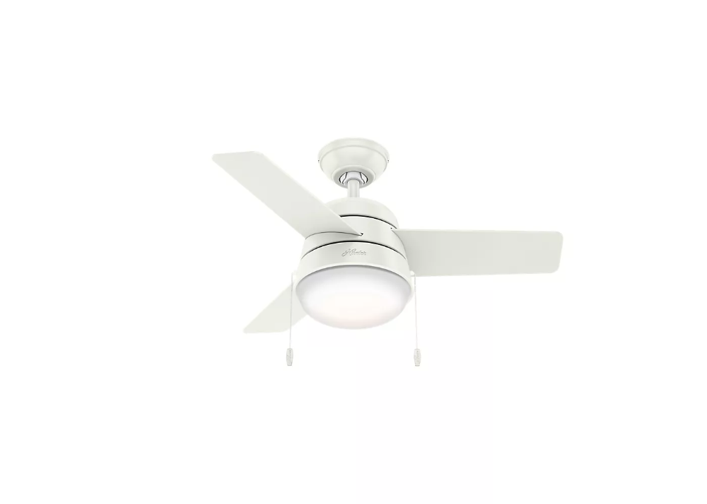 36 Led Aker Ceiling Fan Includes Energy Efficient Light Bulb White Hunter Ceiling Fan Energy Efficient Light Bulbs Ceiling Fan With Light