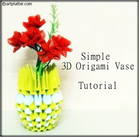 3 D Simple Origami Vase Made Using Triangular Units Of Paper Assembled Like A Flower