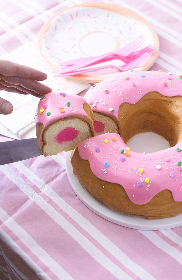 Cutting a giant donut cake #donutcake