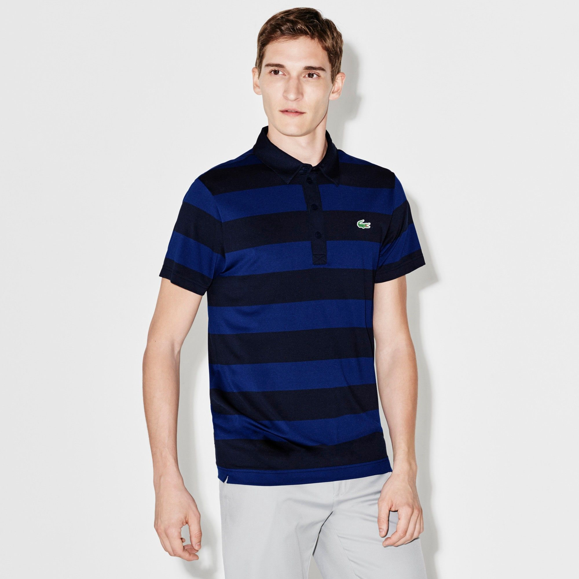 Lacoste Mens S//S Striped Light Jersey Pima Cotton Polo Regular Fit