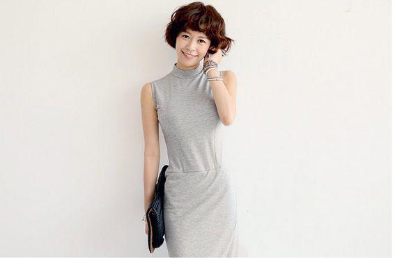 無袖長裙 韓版純色修身顯瘦開口下擺修身立領 時尚佳人 | 時尚佳人 - Yahoo!奇摩超級商城