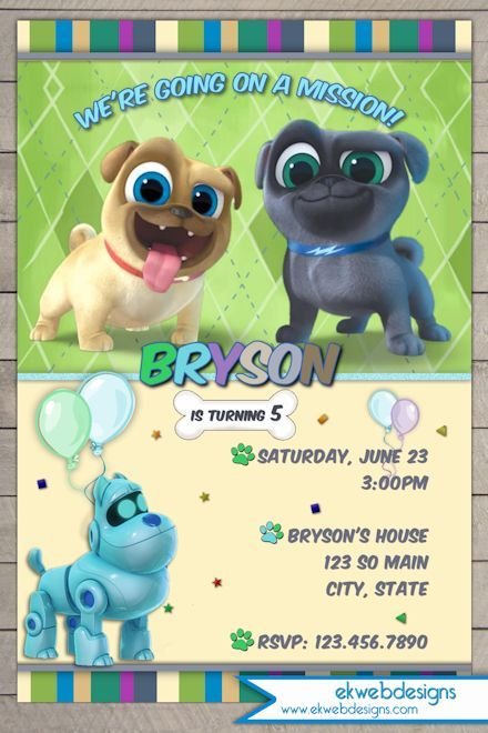 Puppy Dog Pals Birthday Invitation Disney Jr S Puppy Dog Pals Invitation Birthday Invitations Kids Puppy Birthday Animal Themed Birthday Party