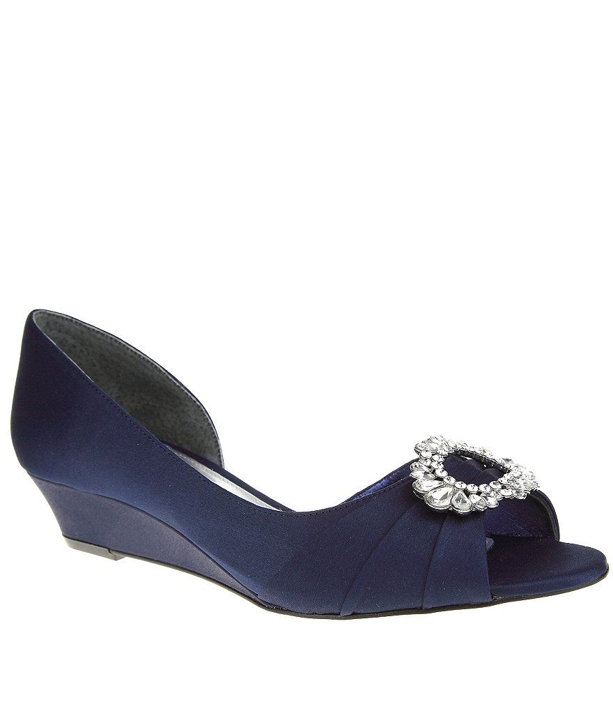 Rivka Satin Jeweled Brooch d'Orsay Wedges