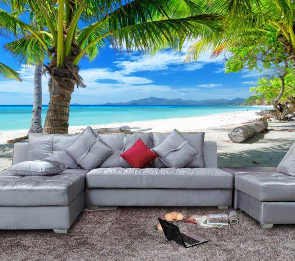 3d Wallpaper Mural Coconut Palm Tree Beach Sea View Wall Paper