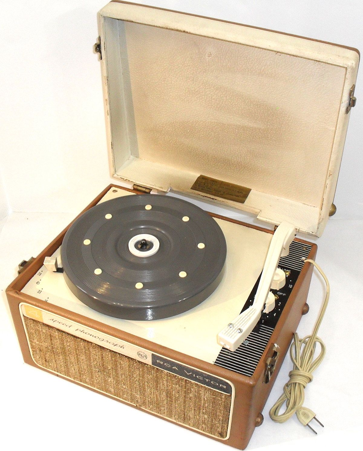 Vintage 1960s RCA Victor 4 Speed Phonograph Tube Record Player New