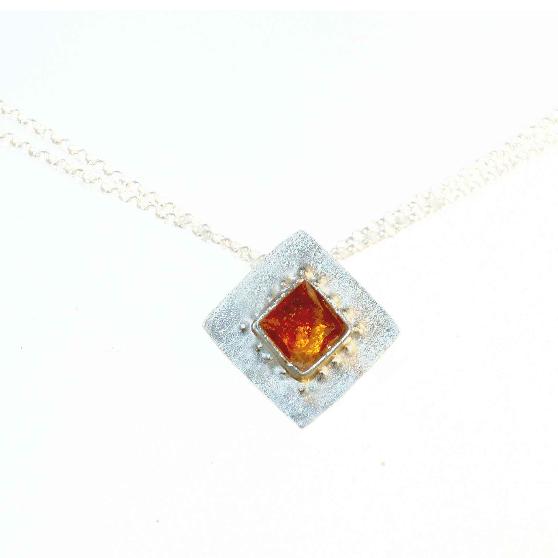 Shellie David Sterling Silver and Citrine Necklace Artistic