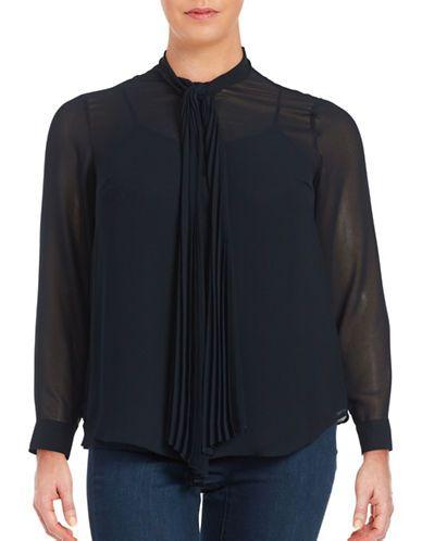Michael Michael Kors Plus Plus Crepe Tie-Neck Blouse Women's New Navy