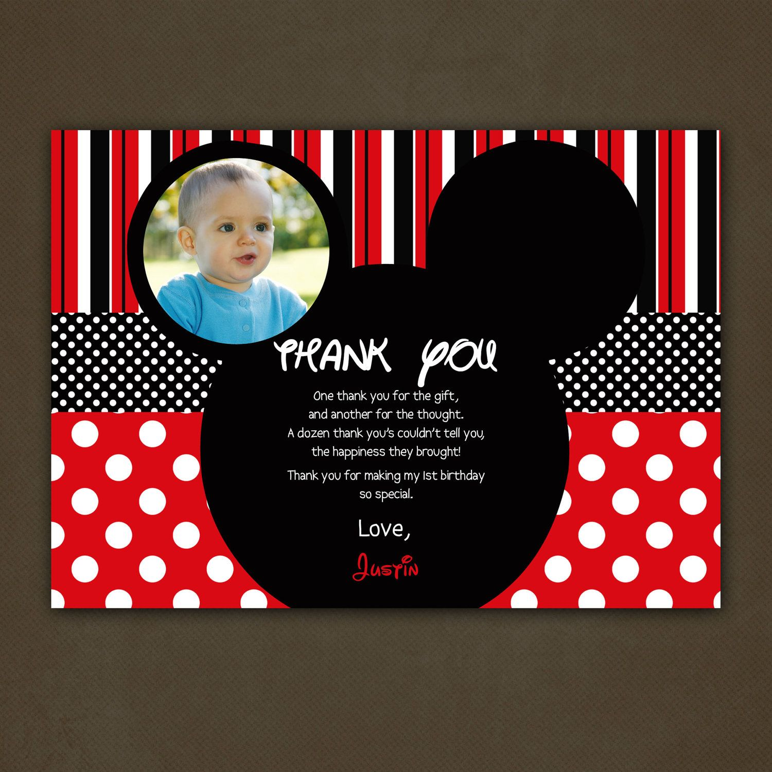 Thank You Cards Mickey Mouse Thank You Card Birthday Printable File