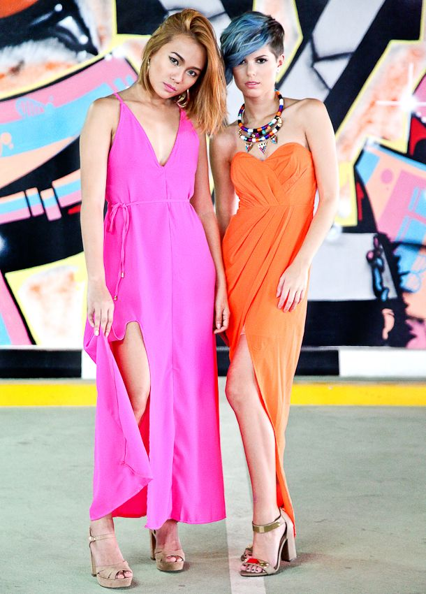Pink secret valentine maxi dress and orange keepers maxi both from Xenia...perfect for Brunch!  www.monroeandme.com