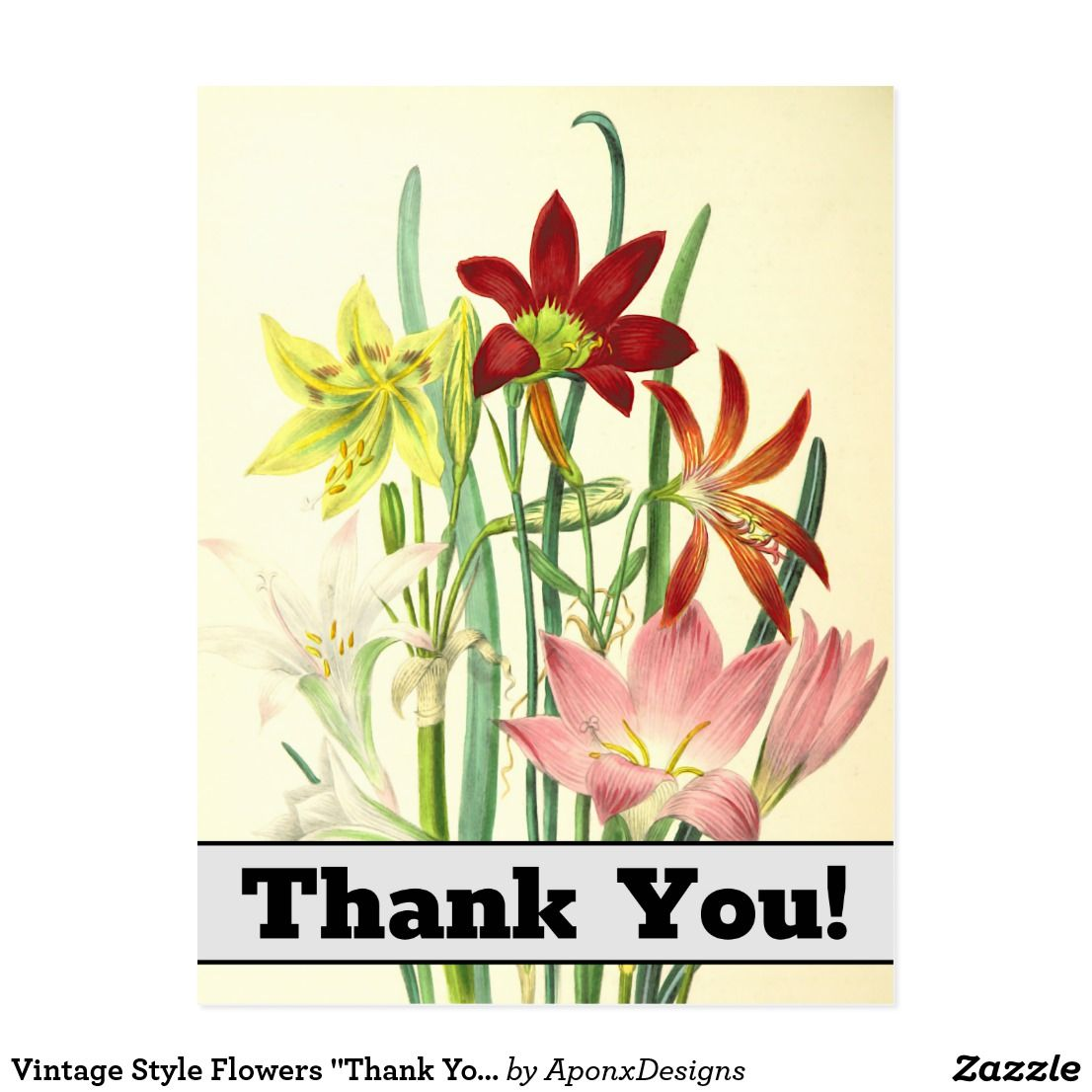 """Vintage Style Flowers """"Thank You!"""" Postcard"""