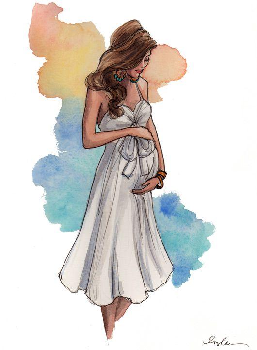 Pregnant watercolor