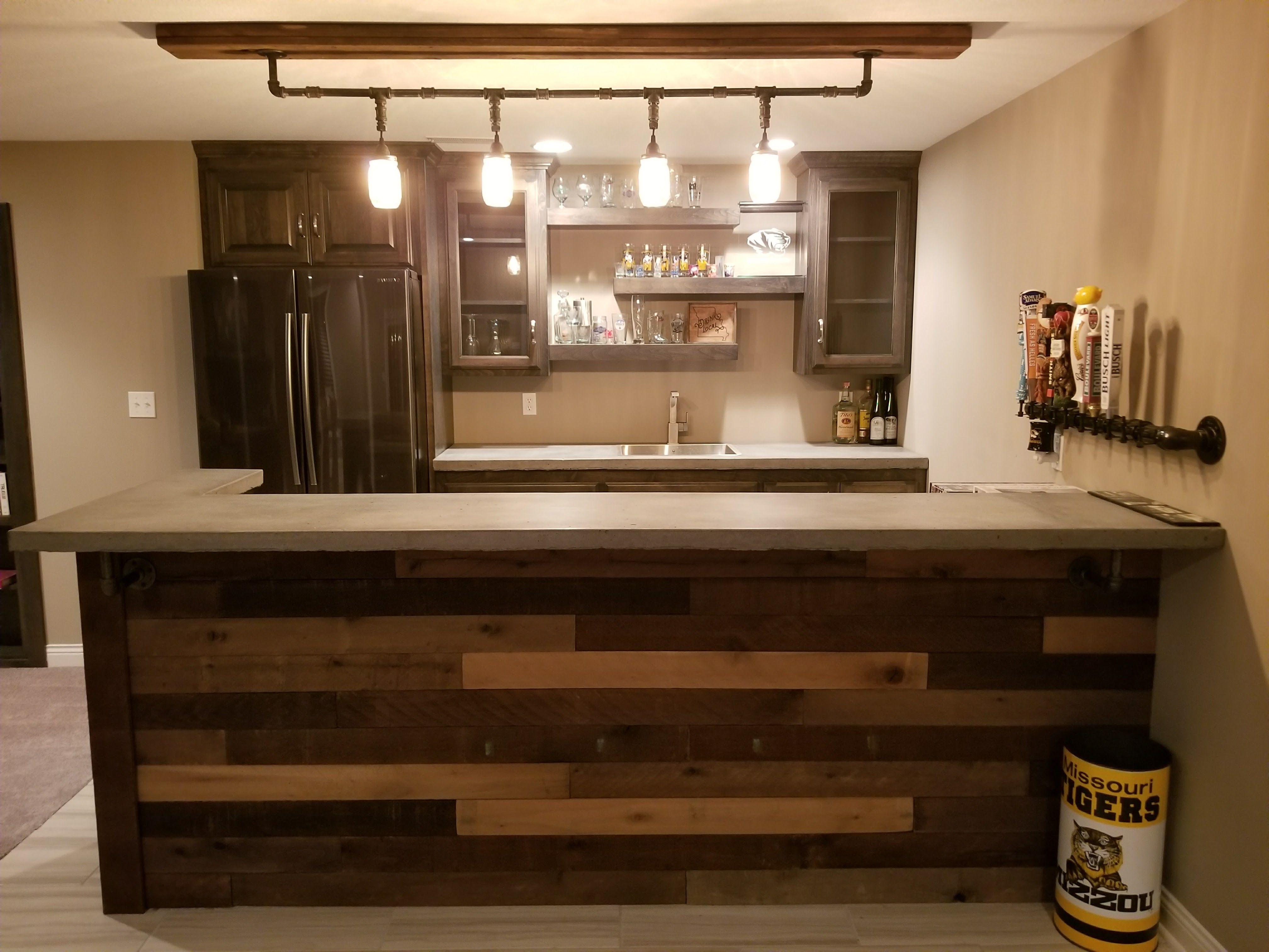 Pallet Wood Bar With Concrete Counter Tops Mason Jar Hanging Light Floating Shelves Concrete Counter Bathroom Furniture Vanity Concrete Countertops
