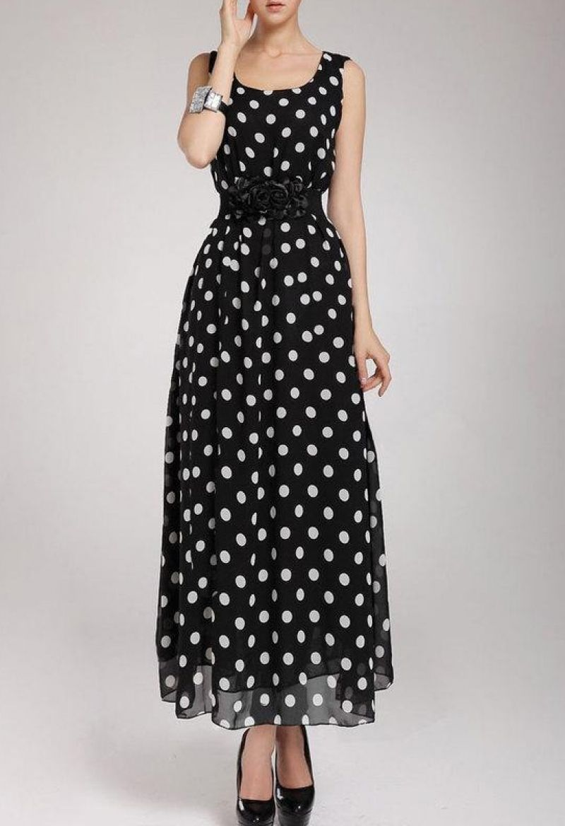 4a84be93c26aa Sleeveless Polka Dot Chiffon Dress in 2019 | Closet | Dresses ...