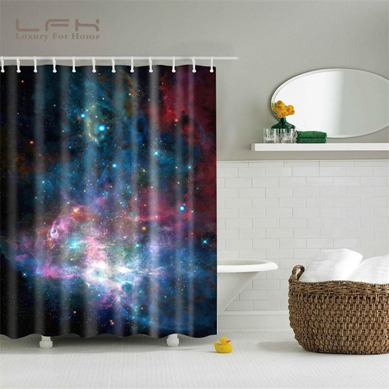 Lfh Shower Curtain 180x180cm Shining Stars Space Cool Universe