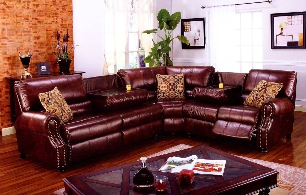 Nailhead Trim Leather Reclining Sectional Sofa With Full