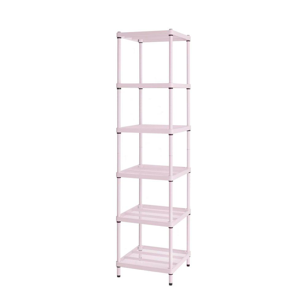 Design Ideas Meshworks 6 Shelf Metal Blush Pink Freestanding