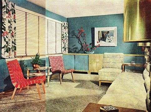 1940S Interior Design Adorable A Very 1940's Living Room  Very Colourful With Accent Colours Inspiration