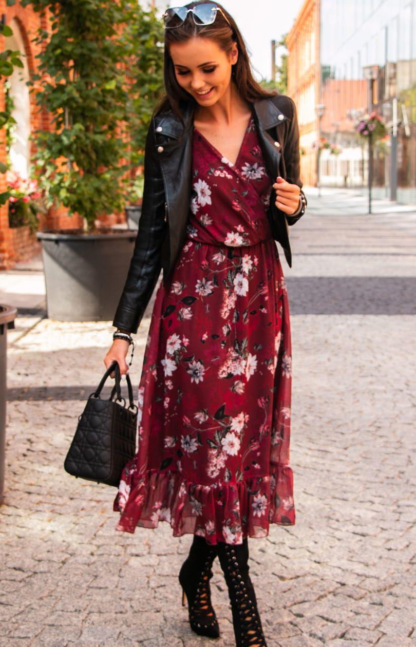 Sukienka Midi W Kwiaty 0241 D57 Dresses Midi Dress Floral Midi Dress