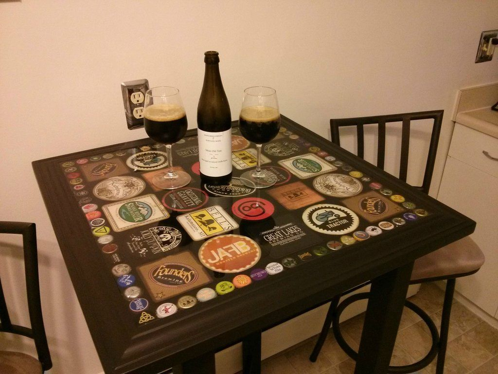 Beer bottle cap and coaster table beer bottle caps for How to make a table out of bottle caps