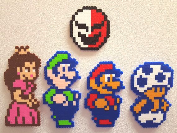 Perler beads Mario, pixel art, video game, nes, super mario bros 2