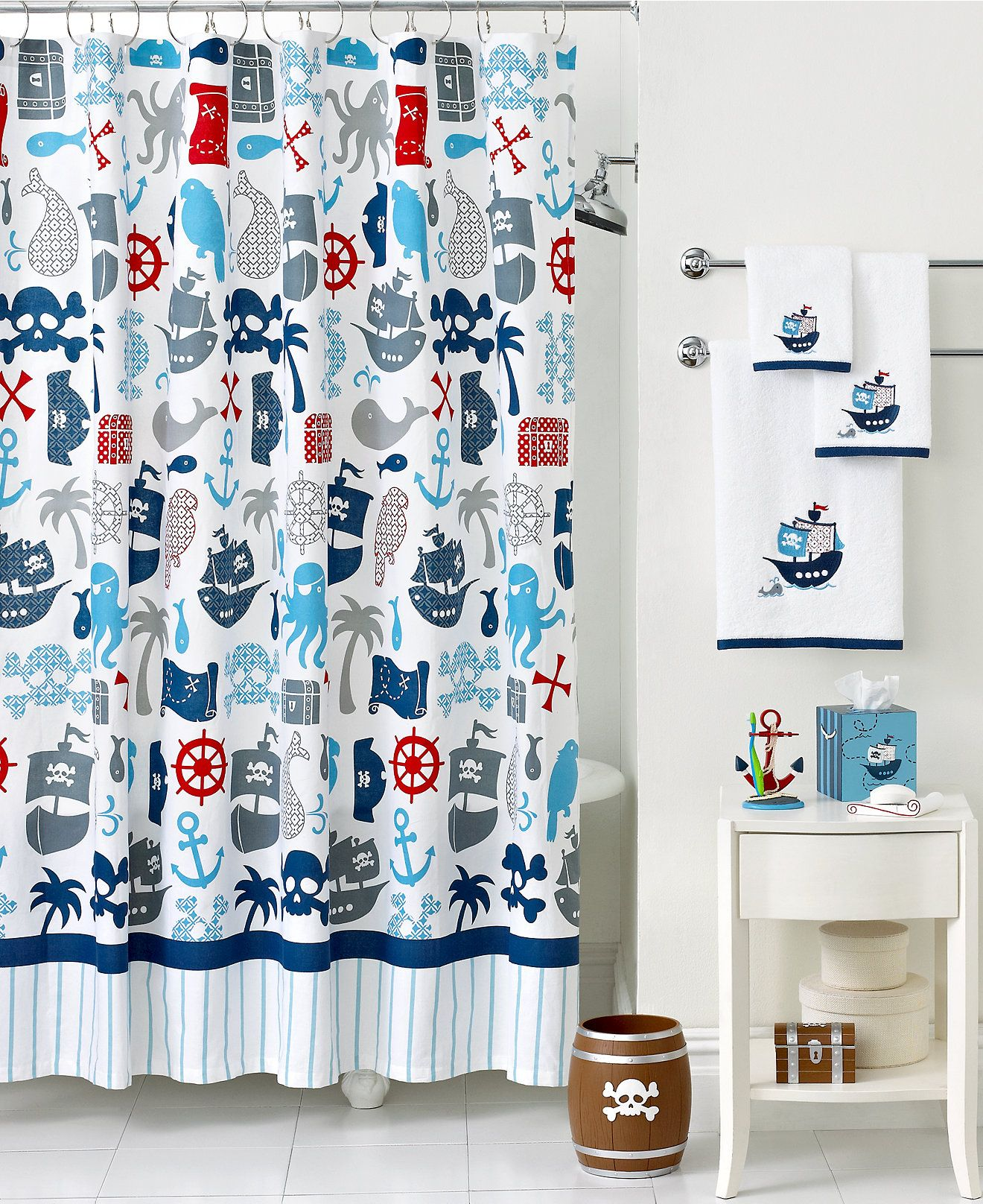 Kassatex Bath Accessories, Pirates Shower Curtain   Shower Curtains U0026  Accessories   Bed U0026 Bath Part 56