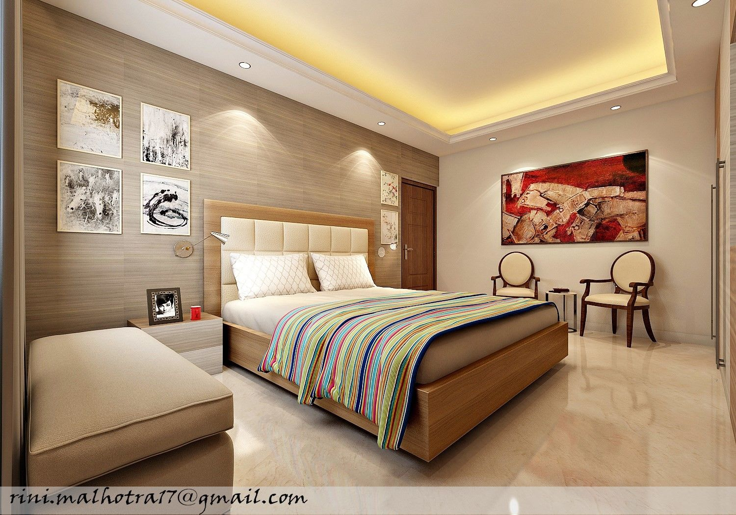 the classic bed room interior view wooden bed with comfortable