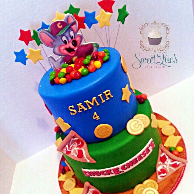 Chuck E Cheese themed birthday cake Sweet Lues Cake Studio