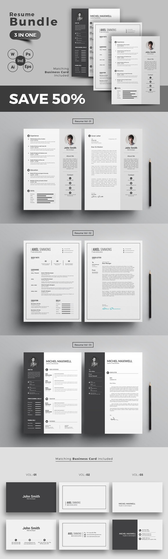graphic design resume template%0A Resume CV Bundle            Cv TemplatePsd