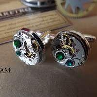 Gemelos  cristal Swarovski verde Steampunk