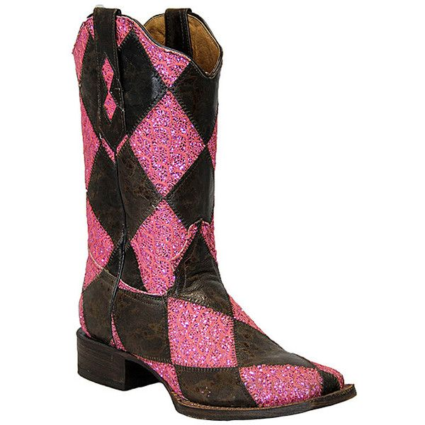 Women's Marbled Medley Western Boot Square Toe Brown 9 M