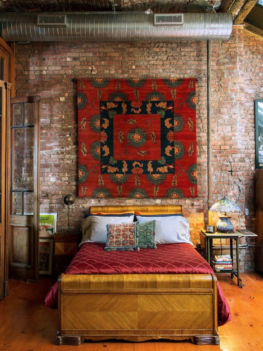 Best Red Tapestry On The Brick Wall Bedroom Artwall Brick 400 x 300
